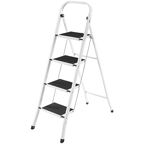 VonHaus Steel 4 Step Ladder Folding Portable...