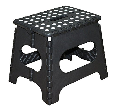 Jeronic 11-Inch Plastic Folding Step Stool,...