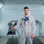 Repair and painting car car mechanic worker