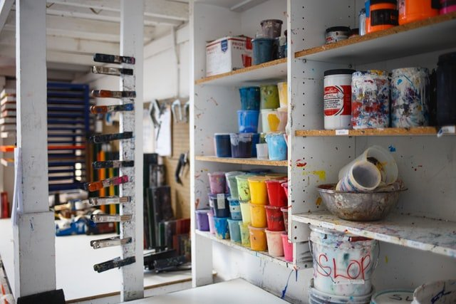 paint containers stored