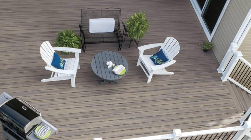 trex deck with chairs